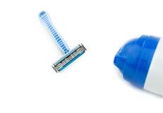 Lâmina de lâmina e gel da barbeação, espuma Foto de Stock Royalty Free