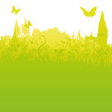 Lâminas de grama, de pouca cidade e de turismo Foto de Stock