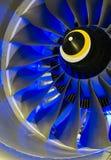 Lâminas de turbina Luz azul Imagens de Stock