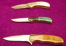 Lâminas diferentes coleccionáveis das facas feitas sob encomenda Foto de Stock