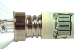 A lâmpada é introduzida no dólar Imagem de Stock