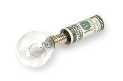 A lâmpada é introduzida no dólar Imagens de Stock