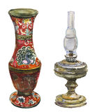 Lâmpada antiga do vaso e de querosene Fotos de Stock Royalty Free