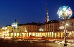 Lâmpada artística do Natal, Turin Fotos de Stock Royalty Free