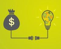 A lâmpada com engrenagens conectou a um saco com o dinheiro Fotografia de Stock Royalty Free