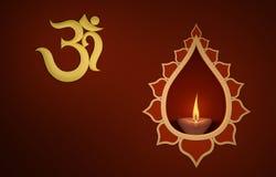 Lâmpada de óleo tradicional indiana decorativa com símbolo do OM Imagens de Stock Royalty Free