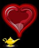 Lâmpada de Alladin com corações ilustração do vetor