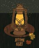 Lâmpada de Autumn Night Sky Vintage com noite-mosca Fotos de Stock