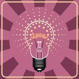 Lâmpada de brilho com amor emocional do sinal para dentro Imagens de Stock