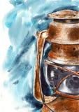 Lâmpada de gás - ilustração da aquarela Imagem de Stock