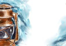 Lâmpada de gás - ilustração da aquarela Fotos de Stock Royalty Free
