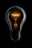 Lâmpada de incandescência no preto Imagem de Stock