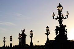 A lâmpada de ponte de Alexandre III afixa silhuetas no crepúsculo em Paris france imagens de stock