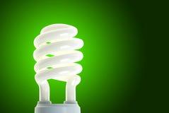 Lâmpada de poupança de energia no verde Fotografia de Stock Royalty Free