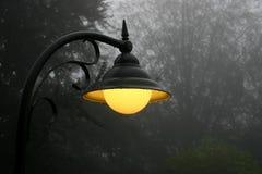 Lâmpada de rua ardente fotografia de stock
