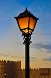 Lâmpada de rua no fundo azul do céu do crepúsculo Imagens de Stock