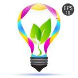 Lâmpada do vetor Idéia brilhante Ampola com folhas verdes Imagens de Stock