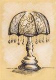 Lâmpada do vintage com esboço do ofício da tinta das suspensões Fotografia de Stock