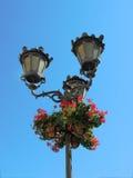 Lâmpada e flores de rua Foto de Stock Royalty Free