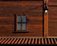 Lâmpada exterior na parede de madeira Fotos de Stock Royalty Free