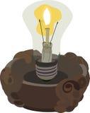 Lâmpada incandescente no castiçal com uma chama para dentro Ilustração Stock
