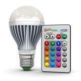 Lâmpada multicolorido do diodo emissor de luz com controlo a distância sem fio Foto de Stock Royalty Free