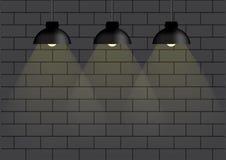 Lâmpada preta e iluminação na ilustração do fundo da parede Fotografia de Stock