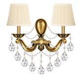 lâmpada, vintage de bronze do candelabro de parede com pendentes de cristal o Imagem de Stock