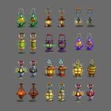 ? lâmpadas antigas coloridas ajustadas do artoon para jogos da fantasia ilustração royalty free
