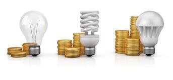 Lâmpadas ao lado das moedas Imagens de Stock Royalty Free