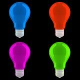 Lâmpadas coloridas isoladas ajustadas Ilustração Stock