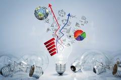 Lâmpadas da ampola com gráfico de negócio ilustração stock