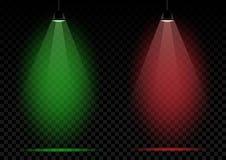 Lâmpadas de néon verdes e luzes vermelhas Fotografia de Stock Royalty Free