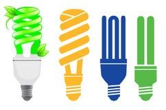 Lâmpadas de poupança de energia ajustadas Foto de Stock Royalty Free