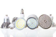 Lâmpadas do diodo emissor de luz no branco imagens de stock