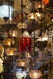 Lâmpadas do otomano do mosaico do bazar grande fotografia de stock royalty free