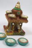Lâmpadas e templo decorados Fotografia de Stock