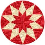 Lâmpadas elétricas vermelhas na forma de uma estrela no disco redondo imagens de stock royalty free