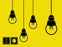 Lâmpadas, interruptor e soquete Fotografia de Stock