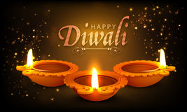 Lâmpadas leves iluminadas tradicionais para Diwali feliz Fotografia de Stock