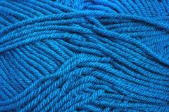 A lã azul rosqueia a textura para o fundo Foto de Stock