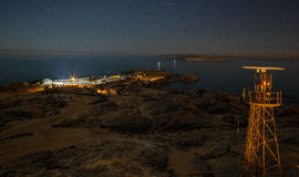 LÃ ¼ deritz -鲨鱼海岛在晚上 库存照片