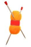Lãs e agulhas de confecção de malhas Imagem de Stock