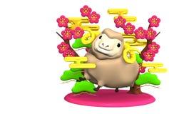Lächeln-Brown-Schafe, rosa Plum Trees With Text Space Lizenzfreies Stockfoto