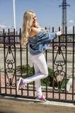 Lächeln einer steht schönes junges blondes Frau, den Zaun und schön die Haltungen bereit stockfotos