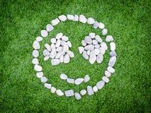 Lächeln entsteint Grashintergrund Stockfotos