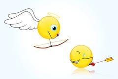 Lächeln für Valentinstag (blauer Hintergrund) Stockfotografie