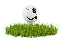 Lächeln-Golfball auf Gras Lizenzfreies Stockfoto