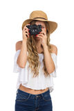 Lächeln I& x27; m, das Ihnen ein Foto macht Stockfotografie