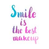 Lächeln ist das beste Make-up Hand gezeichnete Beschriftung lokalisiert auf Weiß Lizenzfreie Stockbilder